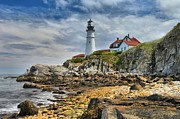 Maine Lighthouses Framed Prints - Light On The East Coast Framed Print by Adam Jewell