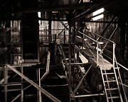 Conveyor Framed Prints - Light On the Old Steel Machine Framed Print by Royce Howland