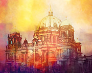 Architecture Mixed Media Prints - Light over Berlin Print by Lutz Baar