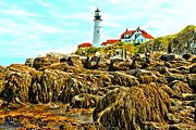 Maine Lighthouses Photo Posters - Light Over The Rocks Poster by Adam Jewell