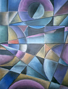 Cubist Pastels Posters - Light Patterns Poster by Caroline Peacock
