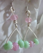 Abstract Jewelry - Light Pink and Green Triangle Dangle Earrings by Janet  Telander