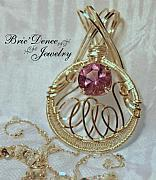 Woven Jewelry Originals - Light Purple Amethyst Prong Wrapped Pendant by Brittney Brownell