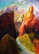 Otherworldly Painting Prints - Light Through the Canyon Print by Mark Malone