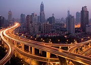 Shanghai Framed Prints - Light Trails On Highway Framed Print by Leniners