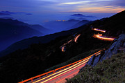 Mountain Road Posters - Light Trails On Road Poster by Thunderbolt_TW (Bai Heng-yao) photography