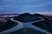 Light Trails On Twin Peaks, San Francisco Print by Photograph by Daniel Pivnick