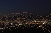 Wireless Technology Posters - Light Trails Over City Poster by Paul Taylor