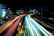 Road Travel Photo Prints - Light Trails Print by Photo by ball1515