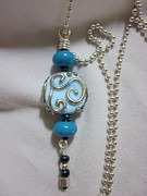 Silver Turquoise Jewelry - Light Turquoise and Silver Swirl Necklace by Janet  Telander