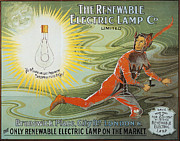 Electric Lamp Prints - Lightbulb Ad, 1900 Print by Granger