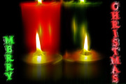 Candlelight Mixed Media - Lighted Christmas Candles - MERRY CHRISTMAS by Steve Ohlsen