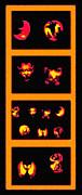 Lighted Jack-o-lanterns Tetraptych Print by Steve Ohlsen