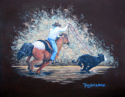 Roping Horse Paintings - Lightening Fast by Tanja Ware