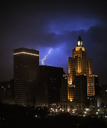 Lightening Over Providence Print by Vicki Jauron