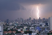 Lightening Strikes Bangkok Print by Gregory Smith