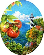 Apples Drawings Posters - Lighthouse and Apples Poster by Judy Skaltsounis