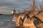 Lighthouse And Breakwall In Evening Light Print by At Lands End Photography