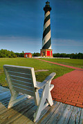 North Carolina Posters Framed Prints - Lighthouse and Chair Framed Print by Steven Ainsworth