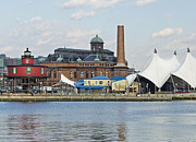 American City Scene Framed Prints - Lighthouse and Pier 6 - Baltimore Framed Print by Brendan Reals