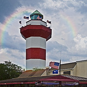Susan Leggett Photo Metal Prints - Lighthouse and Rainbow Metal Print by Susan Leggett