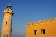 Lighthouse And Yellow Building At The Entrance Of The Port Of Marseille Print by Sami Sarkis