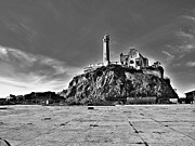 Alcatraz Metal Prints - Lighthouse at Alcatraz-Black and White Metal Print by Douglas Barnard