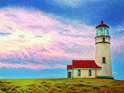 Port Orford Framed Prints - Lighthouse at Cape Blanco Framed Print by Dominic Piperata