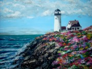 Jack Skinner Paintings - Lighthouse at Flower Point by Jack Skinner