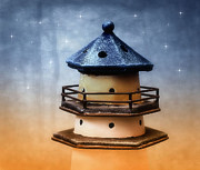 Lighthouse Art - Lighthouse at night by Kristin Kreet