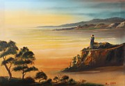 Lighthouse At Sunset Prints - Lighthouse at Sunset Print by Remegio Onia