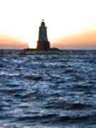 Lighthouse At Sunset Prints - Lighthouse at Sunset Print by Shawn Hughes