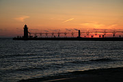 South Haven Framed Prints - Lighthouse at Sunset Framed Print by Timothy Johnson