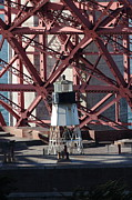 Steel Construction Prints - Lighthouse Atop Fort Point Next To The San Francisco Golden Gate Bridge - 5D18999 Print by Wingsdomain Art and Photography