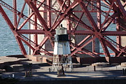 Steel Construction Prints - Lighthouse Atop Fort Point Next To The San Francisco Golden Gate Bridge - 5D19001 Print by Wingsdomain Art and Photography