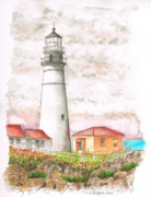 Lighthouses Paintings - Lighthouse-Cape-Elizabeth-Maine by Carlos G Groppa