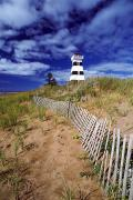 Sand Fences Prints - Lighthouse, Cedar Dunes Provincial Print by David Nunuk
