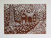 Lino Cut Metal Prints - Lighthouse Metal Print by Christiane Schulze