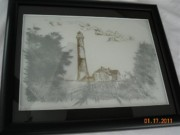 Seashore Glass Art - Lighthouse etched on glass by Doris Lindsey