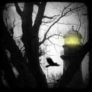 Corvus Framed Prints - Lighthouse Framed Print by Gothicolors And Crows
