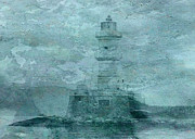 Sarah Vernon Framed Prints - LIghthouse Impasto Framed Print by Sarah Vernon