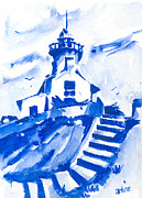Lighthouses Paintings - Lighthouse In Blues by Arline Wagner