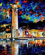 Lighthouse Oil Paintings - Lighthouse In Crete by Leonid Afremov