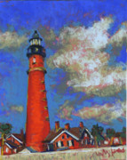 Lighthouse Pastels - Lighthouse in Ponce Inlet by Hillary Gross