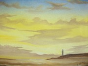 Lighthouse Drawings - Lighthouse In The Distance by Scott Easom
