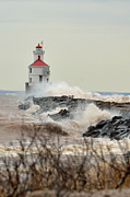 Duluth Art - Lighthouse in the storm by Whispering Feather Gallery