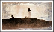 Winter Storm Mixed Media Framed Prints - Lighthouse  Framed Print by Irina Hays