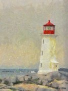 Isolated Digital Art - Lighthouse by Jeff Kolker