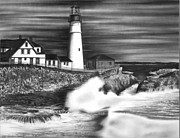 Lighthouse Drawings Framed Prints - Lighthouse Framed Print by Jerry Winick