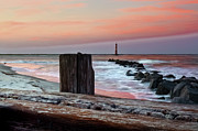 Winter Travel Prints - Lighthouse Jetties Print by Drew Castelhano